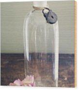 Pink Carnation Blossom And Vintage Glass Bottle Wood Print