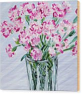 Pink Carnations In A Vase. For Sale Wood Print