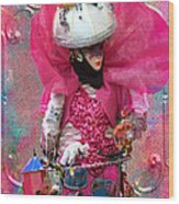 Pink Carnival Costumed Lady Wood Print