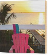 Pink Chair In The Keys Wood Print