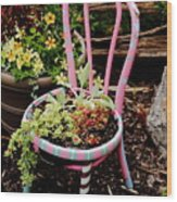 Pink Chair Planter Wood Print