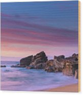 Pink Clouds And Rocky Headland Seascape Wood Print
