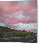 Pink Clouds Over Arizona Wood Print