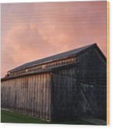 Pink Clouds Over Barn Wood Print