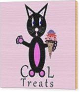 Pink Cool Treats - Cat Typography Wood Print