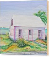 Pink Cottage Wood Print