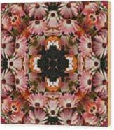 Pink Daisies Kaleidoscope Wood Print