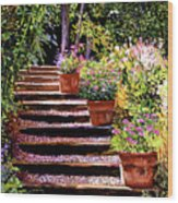 Pink Daisies Wooden Steps Wood Print by David Lloyd Glover