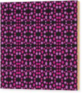 Pink Dots Pattern On Black Wood Print