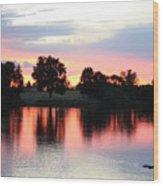 Pink Dusk Reflection Wood Print
