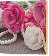 Pink Eustoma Flowers  Wood Print
