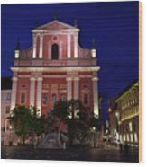 Pink Facade Of Franciscan Church Of The Annunciation Next To Urb Wood Print