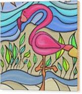 Pink Flamingo Glassy Wood Print