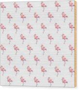 Pink Flamingo Watercolor Pattern Wood Print