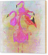 Pink Flamingos In The Park Wood Print