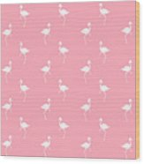 Pink Flamingos Pattern Wood Print