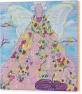 Pink Flower Angel Wood Print