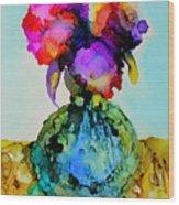Pink Flowers In A Vase Wood Print