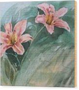 Pink Flowers Wood Print