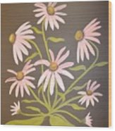 Pink Flowers With Brown Background Wood Print