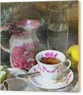 Pink For Tea Wood Print