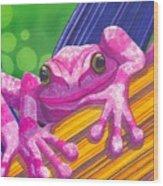 Pink Frog Wood Print