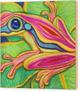 Pink Frog On Leafs Wood Print