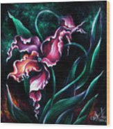 Pink Fuschia Orchid. Dance Of The Nature Wood Print