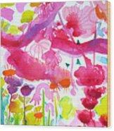 Pink Garden Tree Wood Print