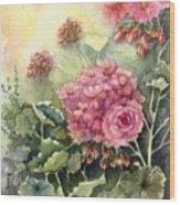 Pink Geranium's  Wood Print