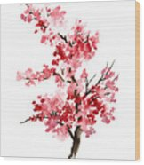 Cherry Blossom, Pink Gifts For Her, Sakura Giclee Fine Art Print, Flower Watercolor Painting Wood Print