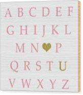 Pink Gold Abc Alphabet Heart Sampler Print Wood Print