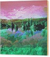 Pink Green Waterscape - Fantasy Artwork Wood Print