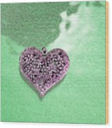 Pink Heart On Frosted Glass Wood Print