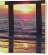 Pink Heart Sun Flare Clearwater Sunset Wood Print