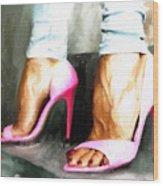 Pink Heels Wood Print