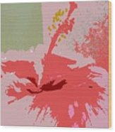 Pink Hibiscus Abstract Wood Print