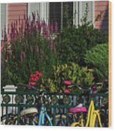 Pink House Bikes Cape May Nj Wood Print