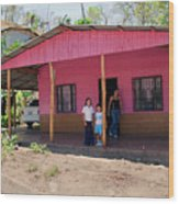 Pink House In Costa Rica Wood Print