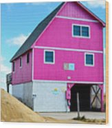 Pink House On The Beach 1 Wood Print