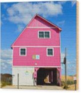 Pink House On The Beach 3 Wood Print