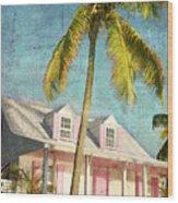 Pink House Palm Wood Print