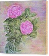 Pink Hydrangeas And Hostas Wood Print