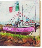 Pink Irish Boat Wood Print