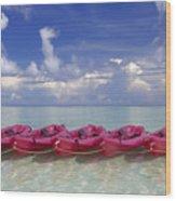 Pink Kayaks Lined Up Wood Print