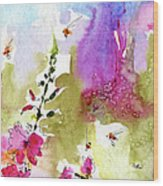 Pink Lavatera Floral Painting 1 Wood Print