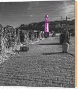 Pink Lighthouse Of St Ives Wood Print