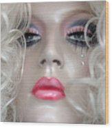 Pink Lips And Aloof Wood Print