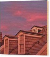 Pink Lit Dormers Wood Print
