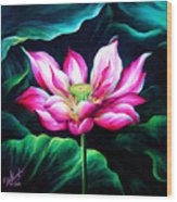 Pink Lotus From L.a. City Park Wood Print